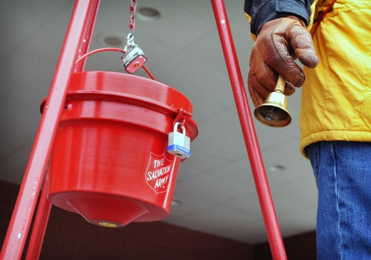The holiday season is underway with the appearance of the Salvation Army donation kettles and bell ringers in Wichita Falls, Texas, in November 2014.