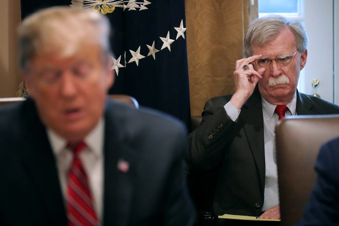 President Donald Trump and then-National Security Adviser John Bolton in February.