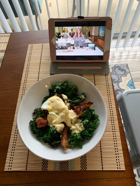 Ree Drumond walked me through cooking this Low Carb Eggs Benedict. How did I do?