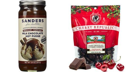 Detroit Free Press / Reviewed 2019 gift guide: Sanders chocolate fudge / Cherry Republic dark chocolate covered cherries