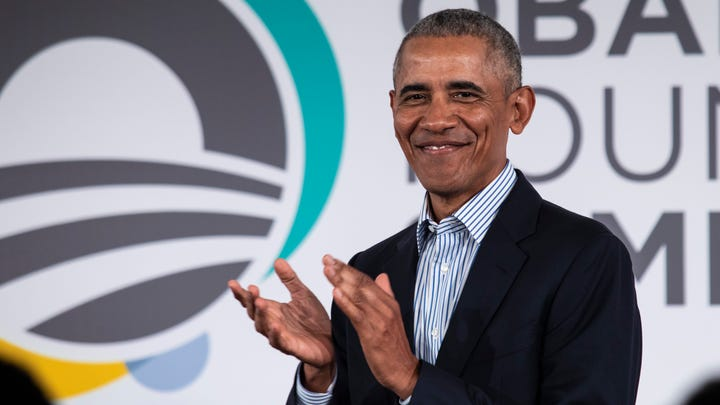 Former President Barack Obama speaks during the Obama Foundation Summit at the Illinois Institute of Technology in Chicago, Tuesday, Oct. 29, 2019. (Ashlee Rezin Garcia/Chicago Sun-Times via AP) ORG XMIT: ILCHS506