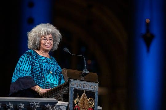 Author Angela Davis speaks during the Celebration of the Life of Toni Morrison.