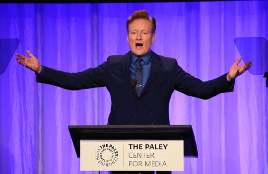 Conan O'Brien appears on stage at The Paley Honors: A Special Tribute To Television's Comedy Legends.
