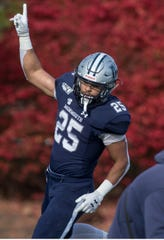 Hampton at Monmouth football. Monmouth's Pete Guerriero scores his second touchdown of the day.  West Long Branch, NJSaturday, November 23, 2019