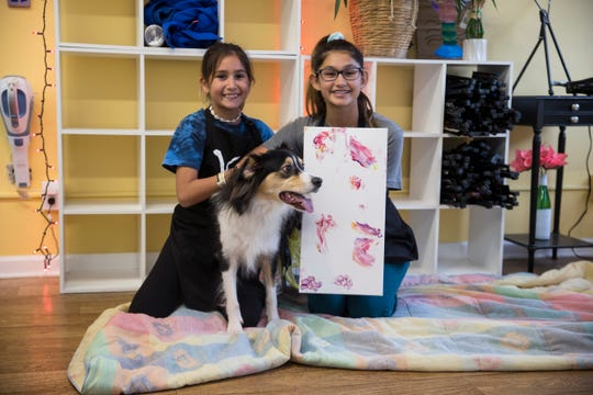 Sonya Fisher, pictured, and Mathew Maust own Vintage Van Gogh's, a paint and sip business in Point Pleasant Beach. Olivia Elliot, 11, and her sister Sofia, 13, both of Brick, painted paw prints with their dog Teddy. Point Pleasant Beach, NJFriday, November 22, 2019
