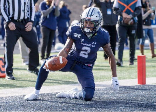 Hampton at Monmouth football. Monmouth's Lonnie Moore IV scores a touchdown for Monmouth. 