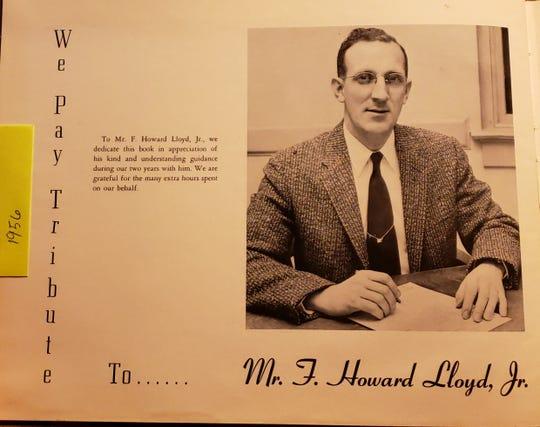Howard Lloyd in 1956 as the Matawan High School yearbook advisor