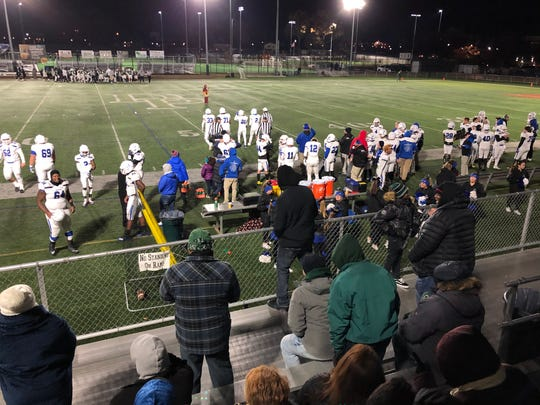 The Donovan Catholic football team is distracted by the DePaul Catholic fans before the NJSIAA Non-Public Group III game on Nov. 22, 2019.