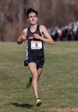 Liam Murphy won the boys race at the NJSIAA Boys Cross Country Meet of Champions at Holmdel Park, Holmdel, NJ on November 23, 2019.