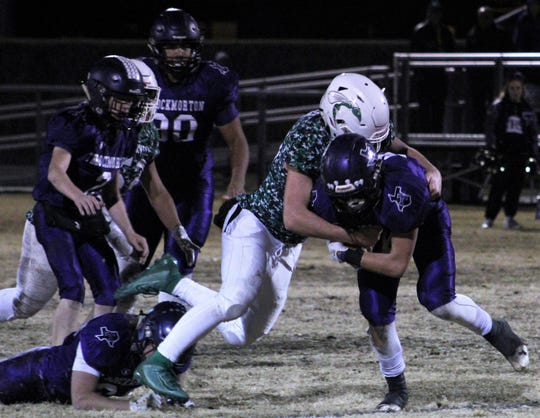 Zach Panzer and his Blackwell teammates didn't give up many rushing yards in a 46-0 shutout of Throckmorton on Friday at Baird in a Class 1A DII playoff game. Nov. 22 2019