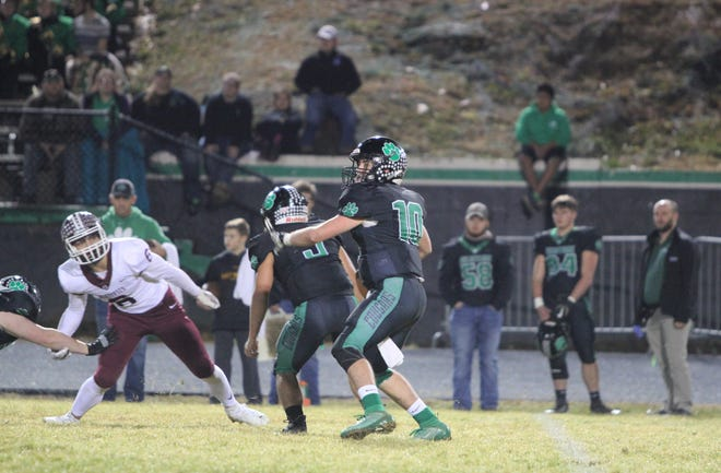 Mountain Heritage senior quarterback Callin Randolph completed 6 passes on 16 attempts for 138 yards and a touchdown, Nov. 22, as the Cougars advanced to the third round of the NCHSAA 2A State Playoffs with an 18-7 win over Owen.
