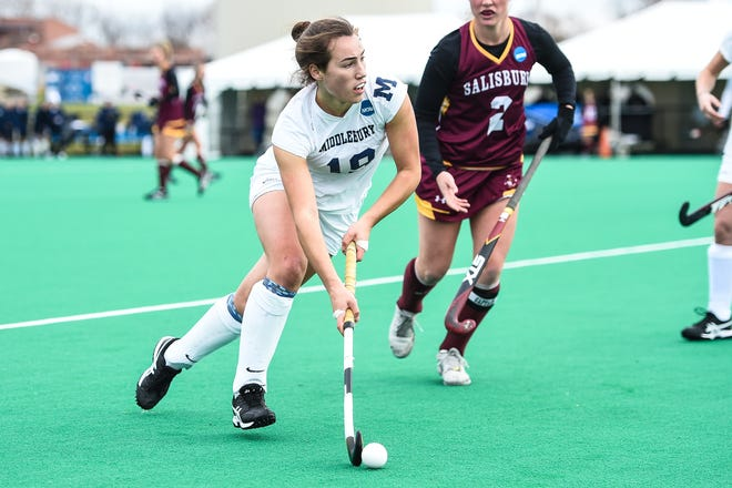 Middlebury Katie George advances with the ball during the Division III field hockey semifinals vs. Salisbury at the Spooky Nook Sports Complex in Manheim, Pennsylvania, on Saturday, November 23, 2019.  The Panthers won on a George goal.