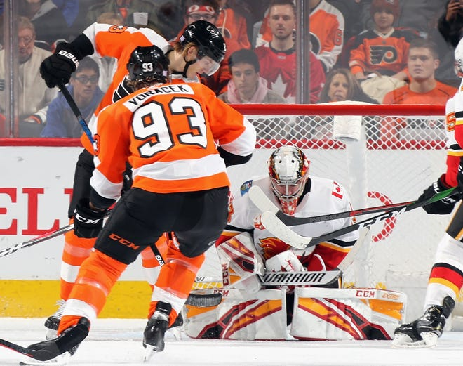 Calgary goalie David Rittich made 36 saves against the Flyers Saturday. They continued to lack finish to their offensive game in a 3-2 shootout loss to the Flames.