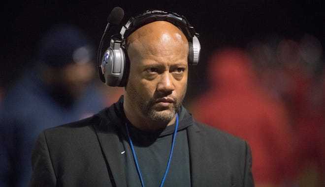 Willingboro High School football coach Steve Everette enters the field prior to the Central Jersey Group 1 football final between Willingboro and Salem played at Willingboro High School on Friday, November 22, 2019.  Willingboro defeated Salem, 40-8.
