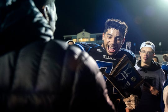 Williamstown's Aaron Lewis Jr. reacts following a 14-10 win over Lenape during a South Jersey Group 5 championship Friday, Nov. 22, 2019 in Williamstown, N.J.