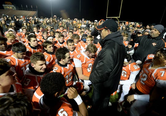 Cherokee coach Brian Glatz talks with his team after defeating Kingsway 35-18 in the Central Jersey Group 5 final at Cherokee High School, Friday, Nov. 22, 2019.
