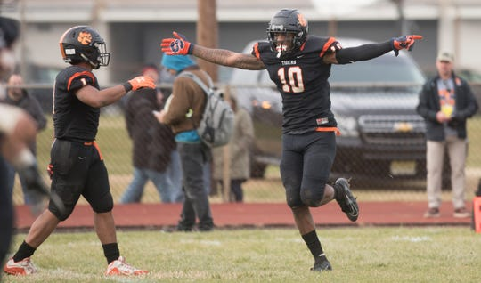 Woodrow Wilson's Fadil Diggs celebrates after scoring a touchdown during the 4th quarter of the South Jersey Group 3 championship game between Woodrow Wilson and Somerville, played at Woodrow Wilson High School in Camden on Saturday, November 23, 2019.  Woodrow Wilson defeated Somerville, 54-30.