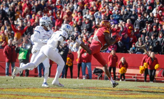 Iowa State senior receiver La'Michael Pettway pulls in a touchdown reception in the end zone in the first quarter against Kansas on Saturday, Nov. 23, 2019, at Jack Trice Stadium in Ames.