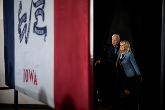 Former Vice-President and 2020 Democratic presidential candidate Joe Biden enters an event with his wife Dr. Jill Biden at Curate on Saturday, Nov. 23, 2019, in Des Moines. At the event Tom and Christie Vilsack endorsed Joe Biden for President.