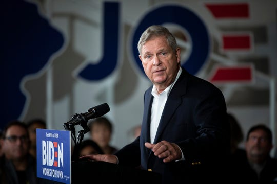 Former Governor of Iowa Tom Vilsack endorses Former Vice-President and 2020 Democratic presidential candidate Joe Biden during a campaign event at Curate on Saturday, Nov. 23, 2019, in Des Moines.