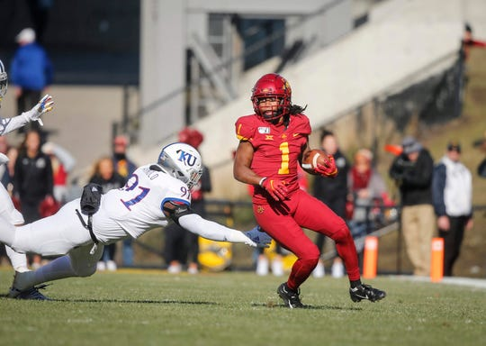 Iowa State sophomore receiver Tarique Milton runs the ball in the second quarter against Kansas on Saturday, Nov. 23, 2019, at Jack Trice Stadium in Ames.