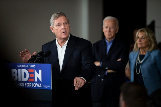 Former Iowa Governor Tom Vilsack speaks during an event where he and his wife Christie endorsed Joe Biden for President on Saturday, Nov. 23, 2019, in Des Moines.