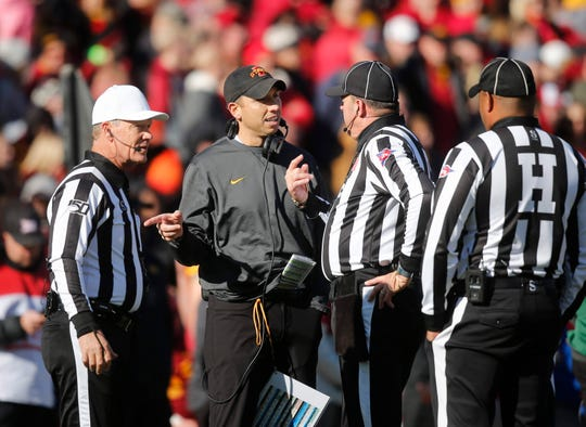 Iowa State head football coach Matt Campbell argues with game officials in the second quarter against Kansas on Saturday, Nov. 23, 2019, at Jack Trice Stadium in Ames.