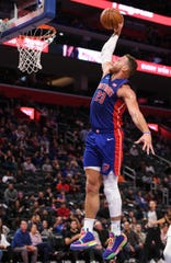 Pistons forward Blake Griffin slam dunks during the fourth quarter of the 123-108 win over the Hawks on Friday, Nov. 23, 2019, at Little Caesars Arena.