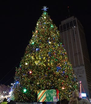 The tree after being lit up at the Detroit Tree Lighting ceremony at Campus Martius in Detroit, Friday, Nov. 22, 2019.