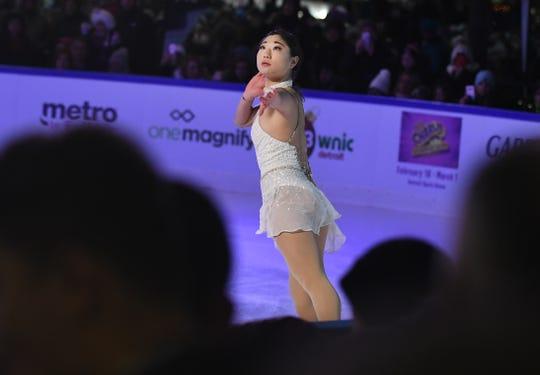American bronze medal Olympian Mirai Nagasu takes to the ice at Campus Martius.