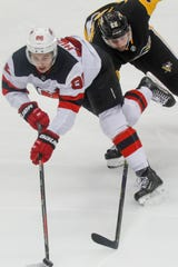 New Jersey Devils' Jack Hughes (86) has 10 points.