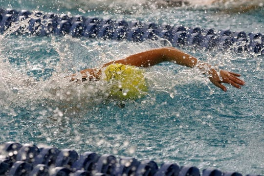 Grace Kadlecik of Lansing swims to sixth place overall in the championship finals of the 50-yard freestyle at the New York State Girls Swimming and Diving Championships on Nov. 23, 2019 at Ithaca College.