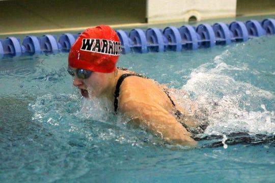 Chenango Valley's Lindsey Rice competes in the 100 breaststroke during the prelims of the New York State Girls Swimming and Diving Championships on Nov. 22, 2019 at Ithaca College.