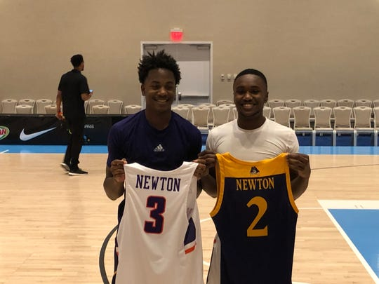 Tristen and Jawaun Newton swapped jerseys after Friday's Evansville-East Carolina game in the Bahamas.
