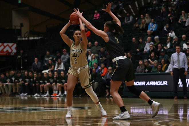 Colorado State women's basketball player Tori Williams looks for a pass during a loss to Colorado on Friday, Nov. 22, 2019.
