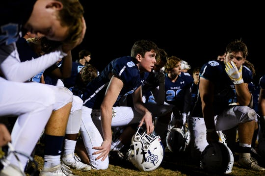 Southside Christian players after their game against Saluda Friday, Nov. 22, 2019.