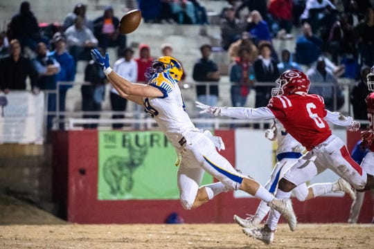A pass intended for Wren's Eli Wilson (88) falls incomplete during their game against Greenville Friday, November 22. 2019. Wren won their third round playoff game 17-7.