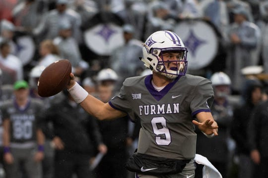 Furman quarterback Hamp Sisson (9) passes the ball during the game against Point University at Paladin Stadium Saturday, Nov. 23, 2019.