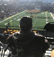 The view Bob Wisecup had of his first Iowa football game Saturday at Kinnick Stadium. He was especially impressed with the marching band.