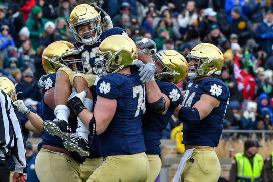 Nov 23, 2019; South Bend, IN, USA; Notre Dame Fighting Irish wide receiver Chase Claypool (83) celebrates after a touchdown in the second quarter against the Boston College Eagles at Notre Dame Stadium.