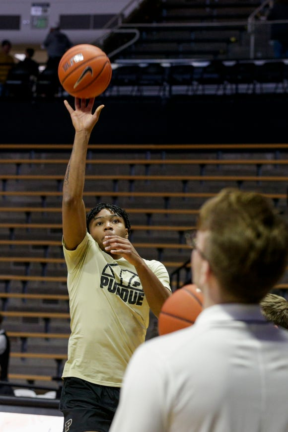 Purdue guard Nojel Eastern (20) warms up prior to the start of an NCAA men's basketball game, Saturday, Nov. 23, 2019 at Mackey Arena in West Lafayette.