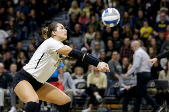 Purdue defense specialist Jena Otec (19) hits the ball during the third set of a NCAA women's volleyball game, Saturday, Nov. 23, 2019 at Holloway Gymnasium in West Lafayette.
