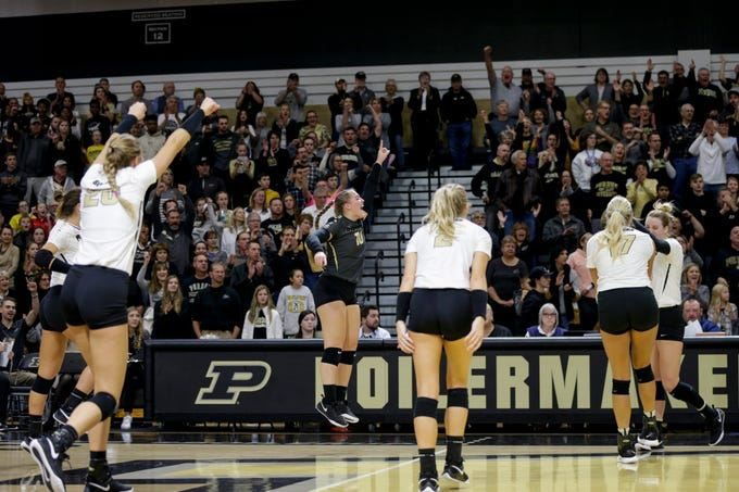 Purdue libero Marissa Hornung (10) leaps up as Purdue wins the first set 25-17, Saturday, Nov. 23, 2019 at Holloway Gymnasium in West Lafayette.