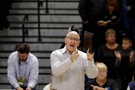 Purdue head coach Dave Shondell reacts during the third set of a NCAA women's volleyball game, Saturday, Nov. 23, 2019 at Holloway Gymnasium in West Lafayette.