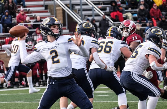 DeWitt quarterback Drew Schorfhaar (2) throws a pass during a state semifinal game against Muskegon in November. Schorfhaar is headed to Michigan State as a preferred walk-on.