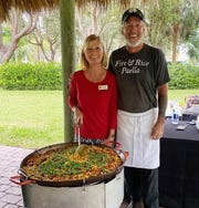 Julie Whitney with the chef.