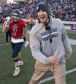 Brookfield East head coach Ben Farley celebrates his team's 31-30 victory over Waunakee in the WIAA Division 2 state title game Friday, Nov. 22, 2019, at Camp Randall Stadium in Madison.