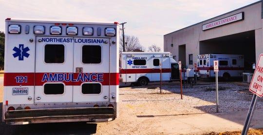 Northeast Louisiana Ambulance service units at the Madison Parish hospital ambulance entrance.