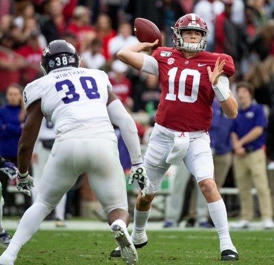 Alabama quarterback Mac Jones (10) passes against Western Carolina at Bryant-Denny Stadium in Tuscaloosa, Ala., on Saturday, November 23, 2019.