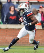 Auburn wide receiver Jashawn Sheffield (16) runs the ball at Jordan-Hare Stadium in Auburn, Ala., on Saturday, Nov. 23, 2019. Auburn defeated Samford 52-0.